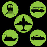 Travel icon green circle. Vector travel icon green circle black background Royalty Free Stock Photos