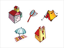 Travel icon set. Vector drawed icons on the travel theme stock illustration