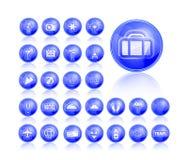 Travel icon set. Shiny Blue Travel Icon Set. Illustration Stock Images