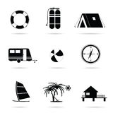 Travel icon set art illustration. Travel icon set illustration in black Stock Photography