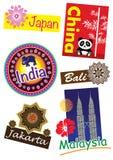 Travel icon set. Asia country travel icon set Royalty Free Stock Images