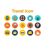 Travel Icon Set. With Background Stock Image