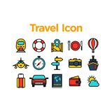 Travel Icon Set. With Background Stock Photo