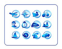 Travel Icon Set - Blue Stock Images