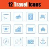 Travel icon set. Blue frame design. Vector illustration Stock Photos