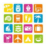 Travel icon set. Bright, stylish travel icon set Stock Photography