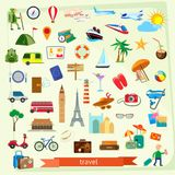 Travel icon set. Flat design Royalty Free Stock Photo