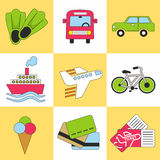 Travel icon set. Flat design trend. Vector illustration. Set of vacation, tourism and journey objects. EPS 10 Stock Image