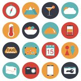 16 travel icon set flat style. Vector illustration Royalty Free Stock Image