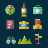 Travel icon. Set of flat vector travel and tourist icons Royalty Free Stock Photo