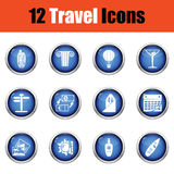 Travel icon set. Glossy button design. Vector illustration Royalty Free Stock Photo