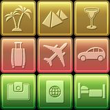 Travel icon set on glossy buttons. Vector illustration Royalty Free Stock Photo