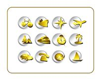 Travel Icon Set: Gold-Silver Royalty Free Stock Photo