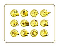 Travel Icon Set: Golden Stock Images