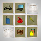 Travel icon set on grey and map. Travel icon set on grey and text royalty free illustration