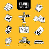 Travel icon set. Hand drawn travel icon set isolate on yellow background Royalty Free Stock Image