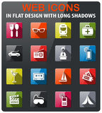 Travel icon set. Travel icons set in flat design with long shadow Royalty Free Stock Images