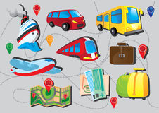 Travel icon set. With map Stock Image