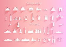 Free Travel Icon Set Of World Architecture Symbol With Long Shadow Royalty Free Stock Photo - 158062255