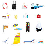 Travel icon set one with train illustration. Travel icon set one with train and boat illustration Stock Photography