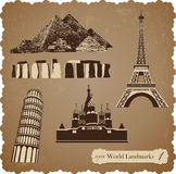 Travel icon set, sepia vector silhouettes Royalty Free Stock Photo