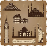 Travel icon set2, sepia vector silhouettes Royalty Free Stock Images