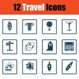 Travel icon set. Shadow reflection design. Vector illustration Stock Photos