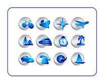 Travel Icon Set: Silver-Blue Stock Images