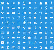 100 Travel icon set. Simple white images on blue background Stock Photos