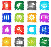 Travel icon set. Travel vector web icons in grunge style for user interface design Royalty Free Stock Photos