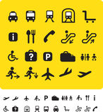 Travel icon set on yellow Stock Images