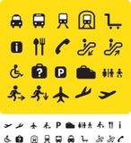 Travel icon set on yellow Stock Images