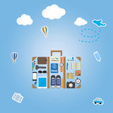 Travel icon setting in luggage shape on blue background Royalty Free Stock Image