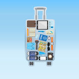 Travel icon setting in luggage shape on blue background Stock Image