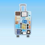 Travel icon setting in luggage shape on blue background Stock Image