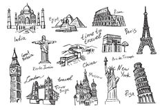 Travel icon sketch Royalty Free Stock Images