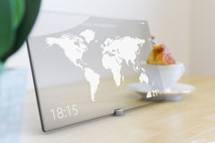 Travel icon on tablet with glass touch screen Stock Photography