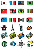 Travel Icons. Vector hand-drawn color icons Royalty Free Stock Image