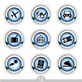 Travel icons. Set of nine travel icons from a series Stock Image