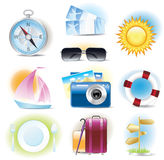 Travel icons. Ten travel icons on white Royalty Free Stock Photos