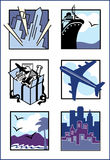 Travel Icons. A collection of six stylized illustrations of travel-related images stock illustration
