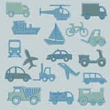 Travel icons. Over blue background vector illustration Royalty Free Stock Photos