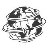 Travel icons with airplane fly around the earth vector illustration
