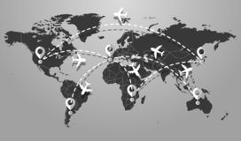 Travel icons with airplane fly location the earth royalty free illustration
