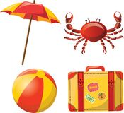 Travel icons, ball, umbrella, vector. Travel icons, ball, umbrella, crab and suitcase. vector  illustration picture Royalty Free Stock Photos