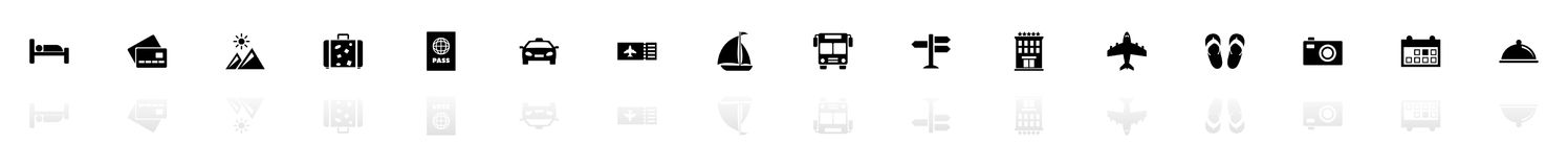 Travel - Flat Vector Icons. Travel icons - Black horizontal Illustration symbol on White Background with a mirror Shadow reflection. Flat Vector Icon Stock Photography