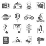 Travel Icons Black Set Royalty Free Stock Images