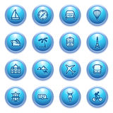 Travel icons on blue buttons. Royalty Free Stock Images