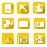 Travel icons on color background. Vector illustration. Royalty Free Stock Photo