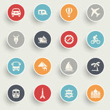 Travel icons with color buttons on gray background. Royalty Free Stock Photo